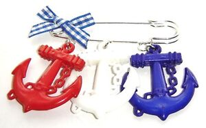 NauTiCaL aNCHoR BRooCH ReD WHiTe BLUe SAiLoR KiLT PiN JaCKeT HaNDBaG