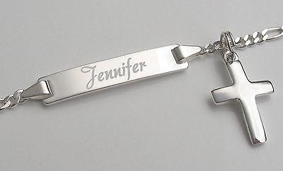 Gravur Damen Armband Armkette Echt Silber Schmuck 925 mit Kreuz Anhänger massiv