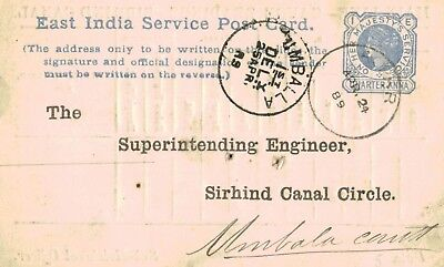 Umballa,India,East India Service Post Card,Used,Pre-Printed,Victoria Stamp,1889
