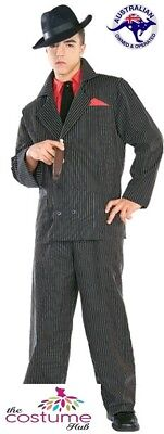 Great Gatsby Mens Costumes (1920s Mens Great Gatsby Gangster Pinstriped Mob Boss Suit Costume Size L -)