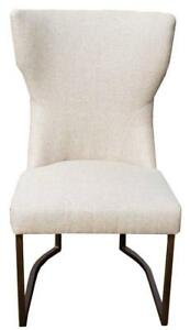 Neutral Linen Accent Fabric Dining Chair with Rustic Bronze Frame, also available in Grey Velvet and Grey Leather