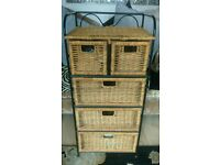 Wicker & Cast iron Chest of Drawers