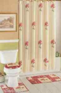 Antique Rose Bouquets Shower Curtain Colorblock Bath Rug Mat Set Bathroom Decor Ebay