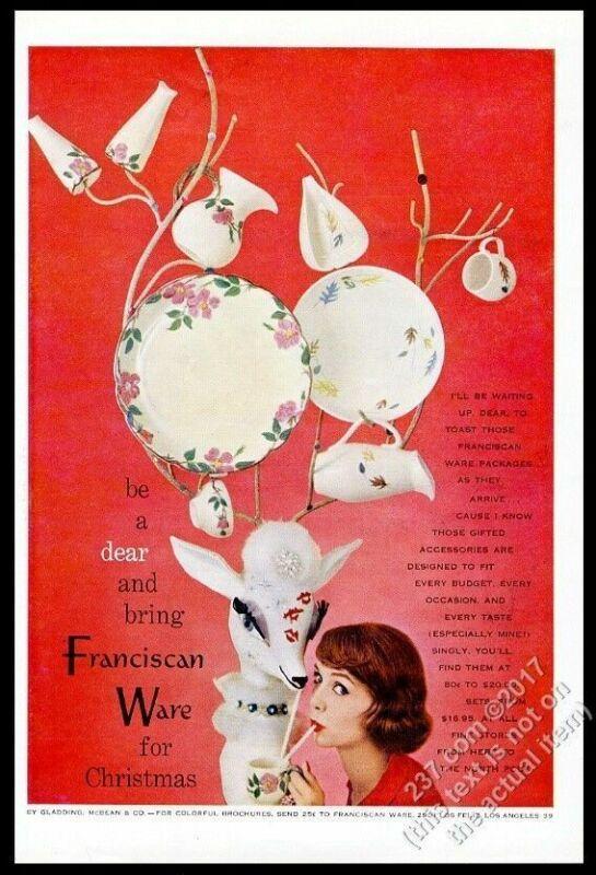 1957 Franciscan Desert Rose Leaf plate pitcher Xmas reindeer vintage print ad