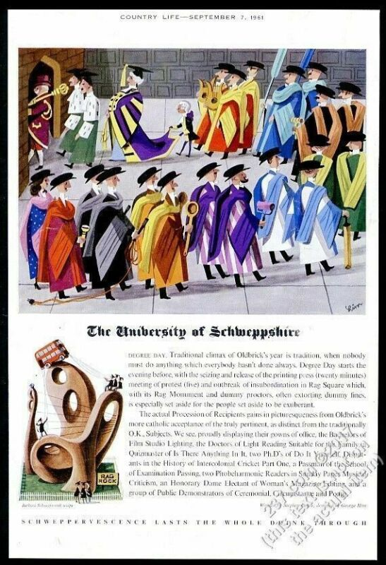 1961 Schweppes soda Unversity George Him color art vintage print ad