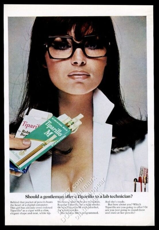 1967 Tiparillo cigar busty lab technician photo vintage print ad