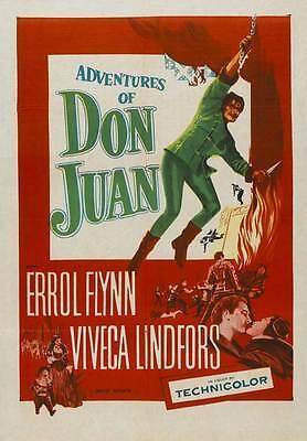 THE ADVENTURES OF DON JUAN Movie POSTER 27x40 Errol Flynn Viveca Lindfors Robert