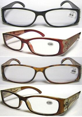 (L23) Reading glasses with Pattern and dimanates on arm +3.50+350+4.00+400