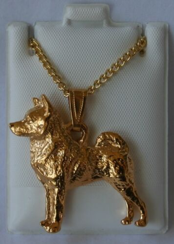Norwegian Elkhound Dog 24K Gold Plated Pewter Pendant Chain Necklace Set