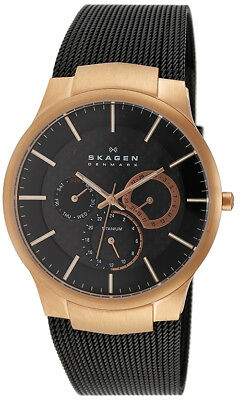 Skagen Men's Analog 100m Rose Gold Black Mesh Titanium Watch 809XLTRB