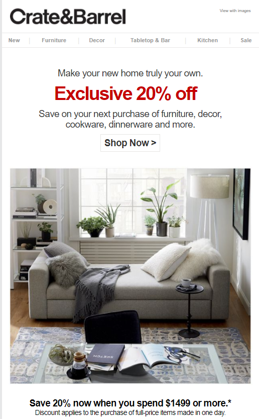 Crate And Barrel 20 OFF Coupon FAST - Works On Furniture - Exp 2/17/2021 - $36.00