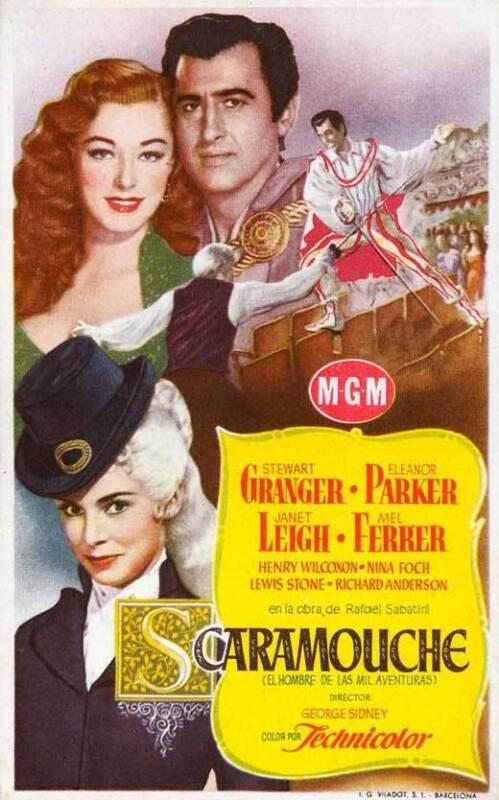 SCARAMOUCHE Movie POSTER 11x17 Spanish Stewart Granger Eleanor Parker Janet