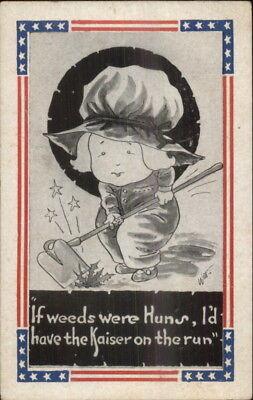Witt - WWI Comic Propaganda Little Girl Weeding Huns Anti-German Postcard