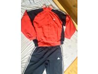 adidas Classic Tracksuit - Red & Navy - XL - SUPER RARE - Retro / Vintage / Old School