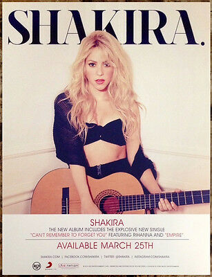 SHAKIRA Shakira Ltd Ed RARE Discontinued Mini-Poster Cling +FREE Pop Stickers!