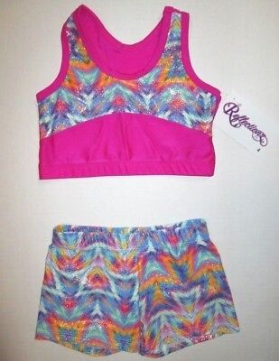 NEW Crop Bra Top Shorts Set Size 10 MC LC Child Lot Dance Gymnastics Leotard M