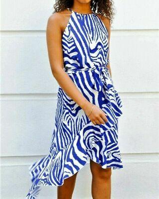 John Zack Halter neck Midi Dress In Blue Zebra