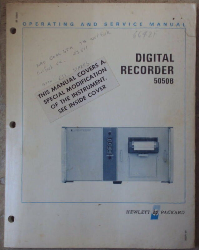 HP 5050B Digital Recorder Operating and Service Manual, good condition
