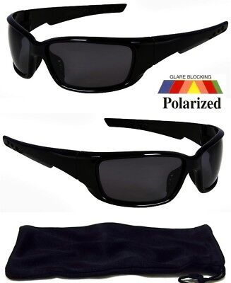 NEW Polarized Sunglasses Wrap Around Frame Mens Black Lens Fishing Golf Glasses