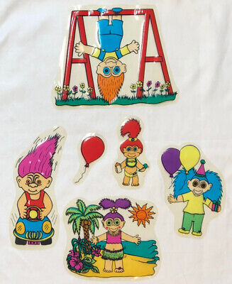 """Lot Of 6 Vintage TROLL Window Clings  3 1/2"""" X 7 1/4"""" THEY STILL CLING"""