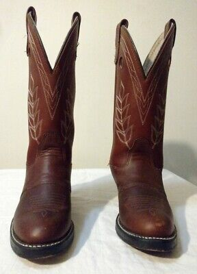 "Double H Womens 12"" Buckaroo Cowboy Brown Pull On Work Boots Size 6.5M 5154"