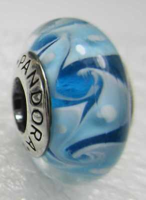 New Pandora Silver 925 Ale Blue Sea Swirly Hurricane Glass Murano Bead -