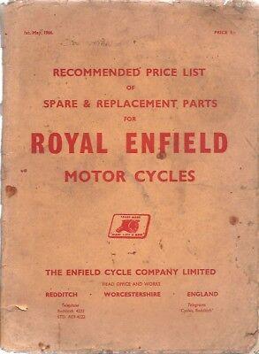 ROYAL ENFIELD ORIGINAL 1966 FACTORY SPARE PARTS PRICE LIST