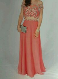 Beautiful two piece prom dress with heart back
