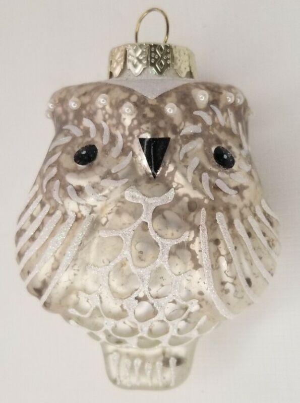 Vintage GLASS Owl Christmas Tree Ornament  Decoration
