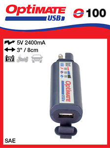 Optimate Combination 2400mA USB charger and 3-LED battery monitor (O-100) (NEW)