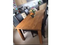 Designer Quality Solid Wood Table & 4 Real Immaculate Leather Chairs