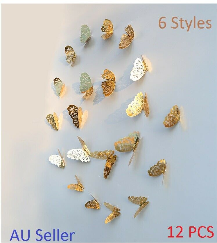 Home Decoration - GOLD/SILVER 3D DIY Butterfly Wall Sticker Home Room Decor Decorations 12 pcs