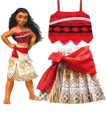 Princess Moana costume for kids girls Disney movie character Hawaii girl dress
