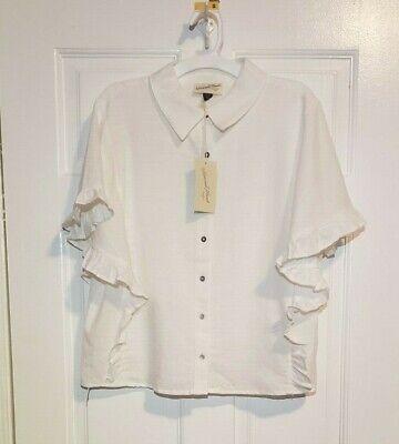 Universal Thread Women's White Short Ruffle Sleeve Button Front Top Blouse - Cotton Short Sleeve Ruffle Front Blouse