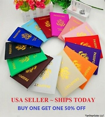 - LEATHER PASSPORT HOLDER COVER WALLET TRAVEL CASE EMBLEM GOLD NEW USA