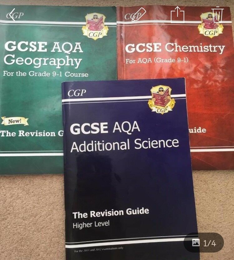 aqa gcse revision guides for geography, chemistry and additional science