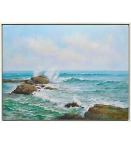 Wave Break Large Framed Painting Print Canvas Beach Ocean Sea Wall Art Camp Hill Brisbane South East Preview