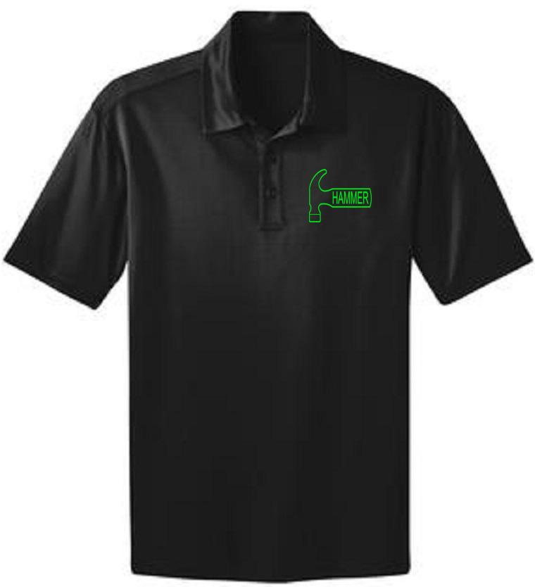 Hammer Men's Big Deal Performance Polo Bowling Shirt Dri Fit Black