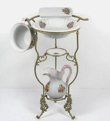 Waschset + Ständer Antik Lavabo Waschschüssel Krug Seifenschale Nachttopf Blumen
