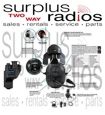 Pryme Bluetooth Construction Hard Hat Headset Motorola Xts5000 Xts2500 Xts3000