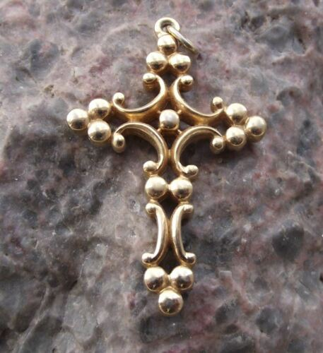 Antique Blooming Cross Christian Religious Necklace Holy Cross Charm