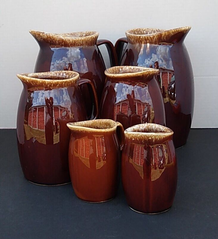 """VTG. (6) HULL USA Brown Drip Pitchers— (2) Large 9"""", (2) Med 7"""", (2) Small 5"""""""