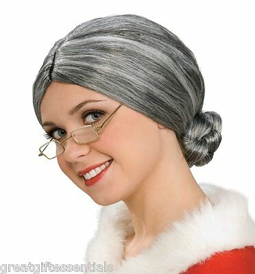 OLD LADY COSTUME WIG DELUXE Mrs. Claus Elderly Gray Grey Bun Hair Santa NEW](Old Lady Wig)