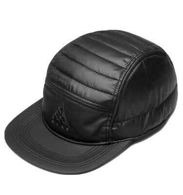 NIKE ACG / LMTD QUILTED 5 PANEL HAT / BLACK OSFM / ADJUSTABLE CORD / TAPED SEAMS