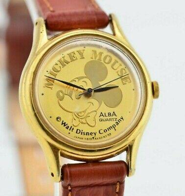 I169 Vintage Gold Alba Mickey Disney Analog Quartz Watch V515-6090 JDM 61.2
