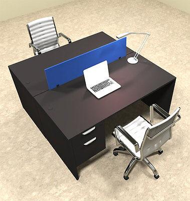 Two Person Modern Blue Divider Office Workstation Desk Set Ot-sul-fpb16