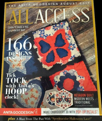 All Access VIP AUGUST 2017 Anita Goodesign Machine Embroidery Designs CD
