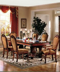 NEW CHATEAU FORMAL TRADITIONAL RUSTIC CHERRY FINISH WOOD DINING ROOM TABLE SET