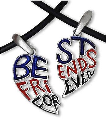 Dark Cut Out - Best Friends Forever BFF Split Heart Friendship Pendant (Best Friends Split Pendant)