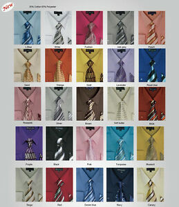 Mens-Milano-Moda-Dress-Shirt-Matching-Tie-Handkerchief-Set-20-UNIQUE-COLORS